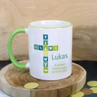 Tasse für kirchliche Anlässe mit Kreuz und Name