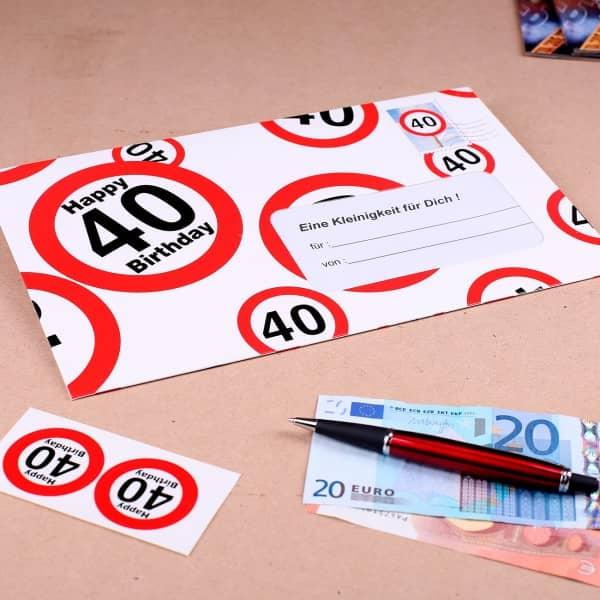 Geldumschlag mit Verkehrszeichen zum 40. Geburtstag