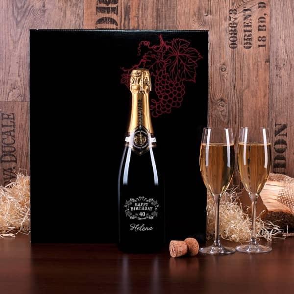 Edles Champagnerset mit Gravur zum Geburtstag