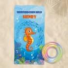 Seepferdchen - Badetuch mit Name und Wunschtext, 180x100cm