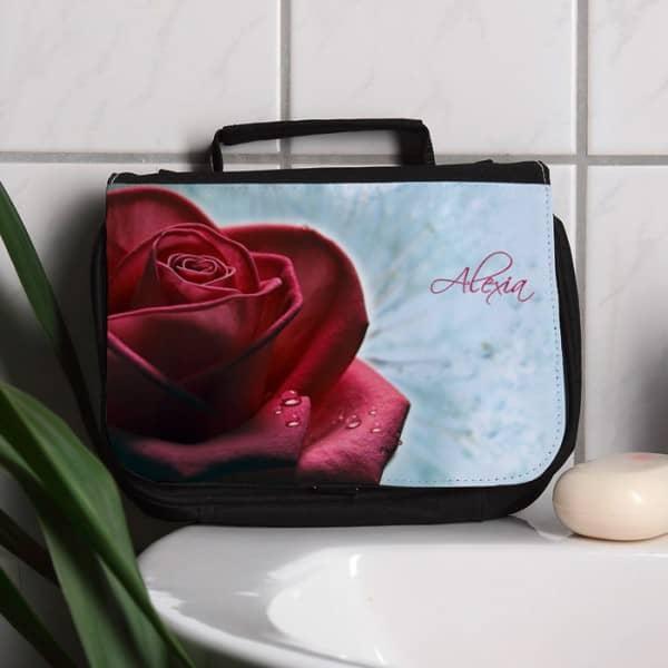 Kulturtasche Rose mit Namensaufdruck