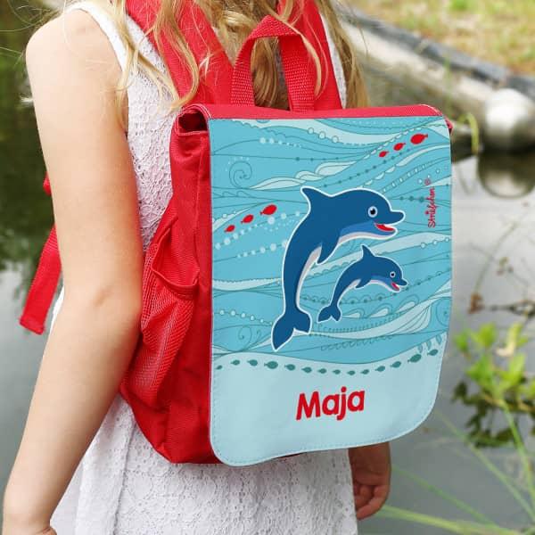 Kinderrucksack mit Delfinen und Wunschtext
