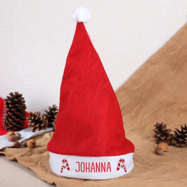 Individuellbekleidung - Weihnachtsmütze mit Zuckerstangen und Ihrem Namen bedruckt - Onlineshop Geschenke online.de