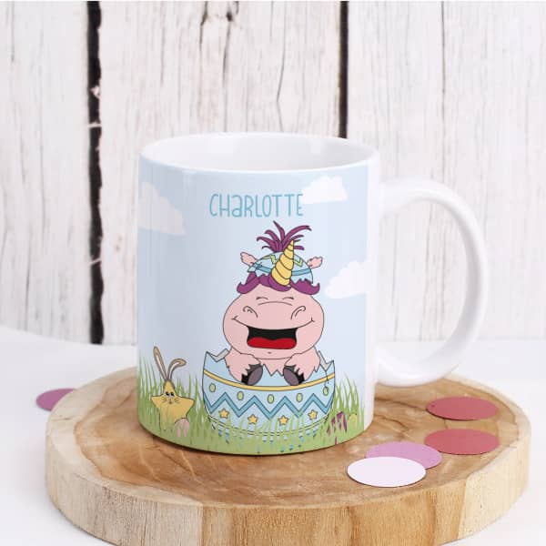Knuddelhorn Tasse zu Ostern mit Ihrem Wunschnamen