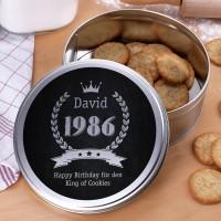 Geschenkdose zum Geburtstag mit Name, Jahreszahl und Glückwunschtext