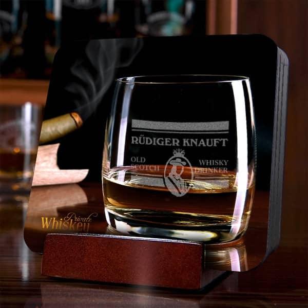 4 Untersetzer mit personalisiertem Whiskey Motiv