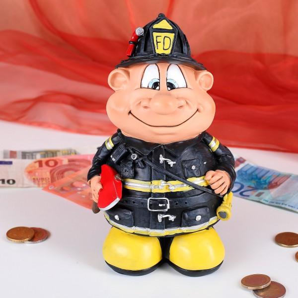 Lustiger Feuerwehrmann als Spardose