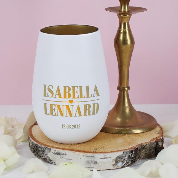 Kerzenbecher für Paare mit Namensgravur und Datum