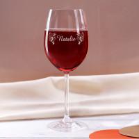 graviertes Weinglas Weintrauben mit Wunschname