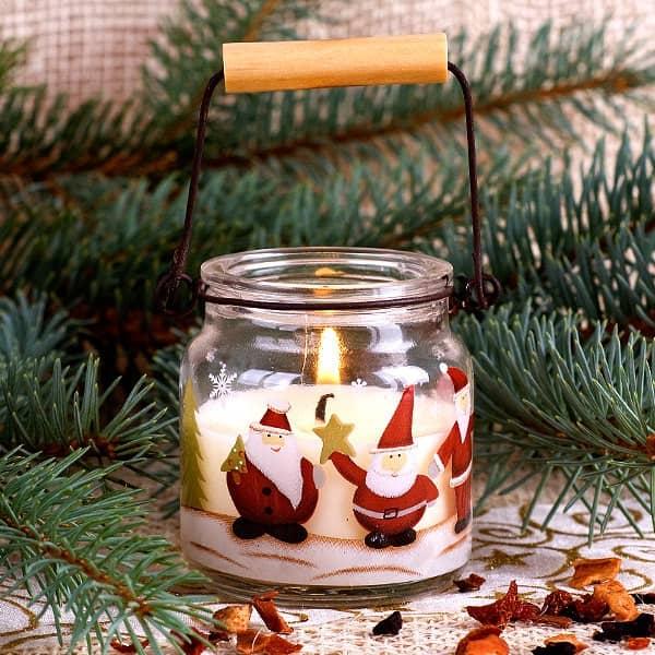 Kerze im Glas mit Metallbügel - Weihnachtsmann