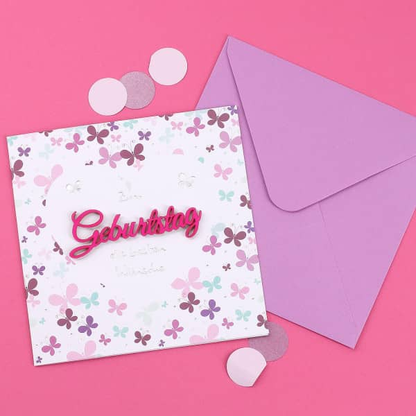 Grußkarte zum Geburtstag mit pinkem 3D Schriftzug
