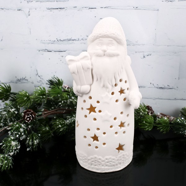 LED Keramik Weihnachtsmann mit Geschenk