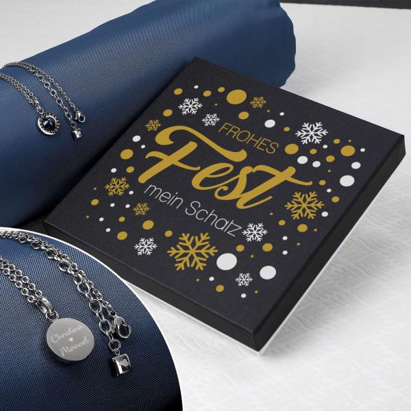 Individuellschmuck - Leonardo Kette mit Perlmutt Stein mit Wunschgravur und Geschenkbox zu Weihnac... - Onlineshop Geschenke online.de