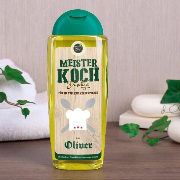 Meister Koch Duschgel mit Name auf dem Etikett