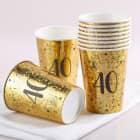 10 Goldene Pappbecher zum 40. Geburtstag