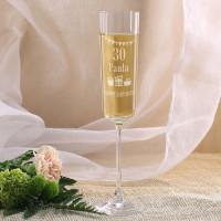Modernes Sektglas mit Geburtstagsmotiv
