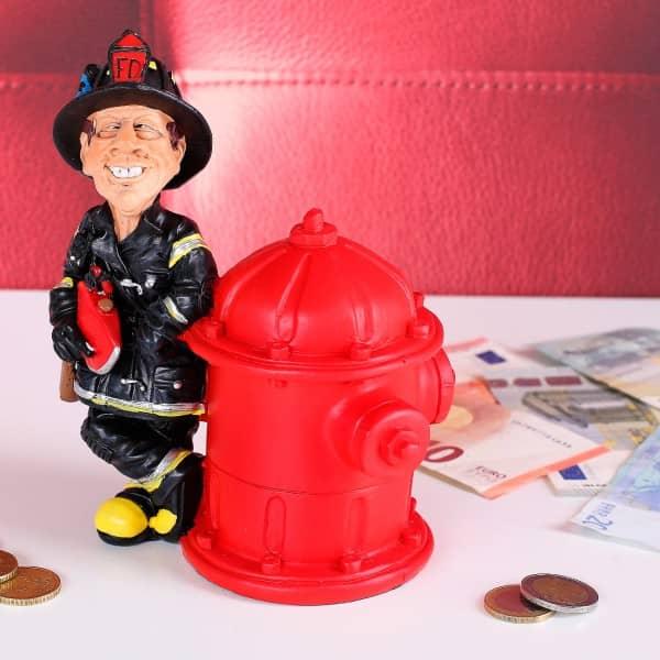 Spardose Feuerwehrmann mit Hydrant