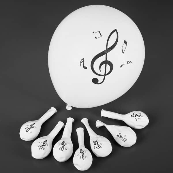 8 Luftballons mit Noten Motiv