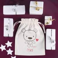 Geschenksäckchen zur Geburt für Mädchen mit Teddymotiv