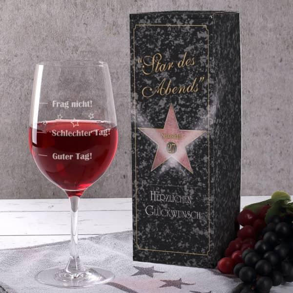 Stimmungsglas mit Star des Abends Geschenkbox