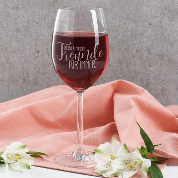 Graviertes Weinglas - Freunde für immer
