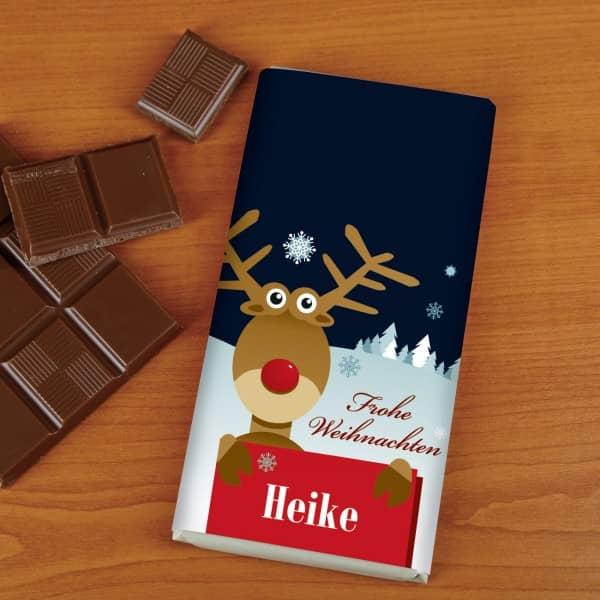 100g Weihnachtsschokolade mit Ihren Wunschnamen