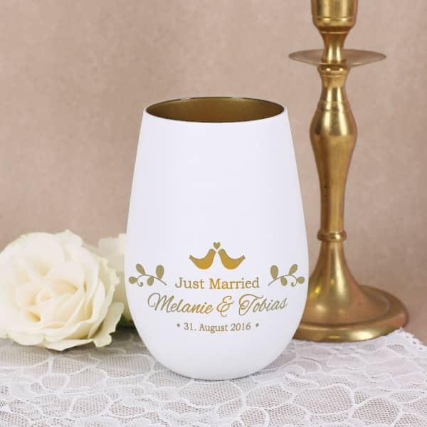Just Married Teelicht zur Hochzeit mit Namensgravur