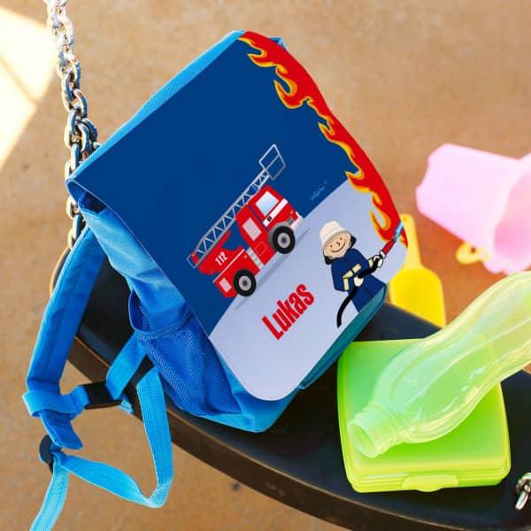 Blauer Kindergartenrucksack Feuerwehr