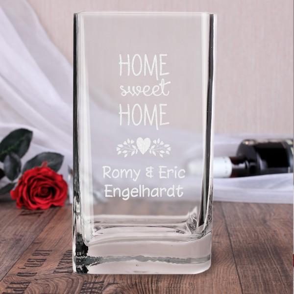Vase Glasvase Einzug Geschenk graviert mit Home sweet Home und Namen