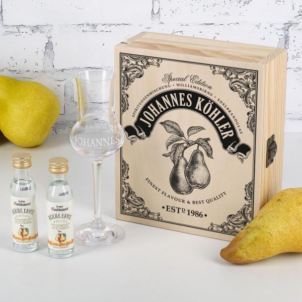 Edelbrand Williamsbirne Geschenkset mit Edelbrandglas und bedruckter Holzkiste