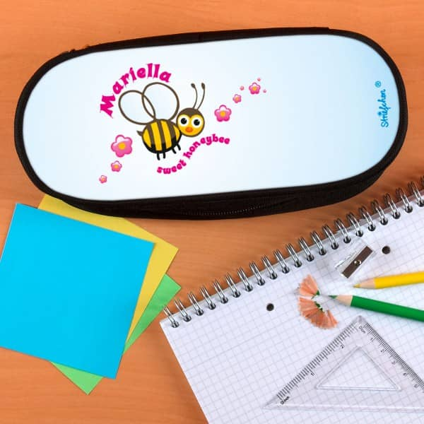 Stiftebox mit süßer Biene und Namensaufdruck