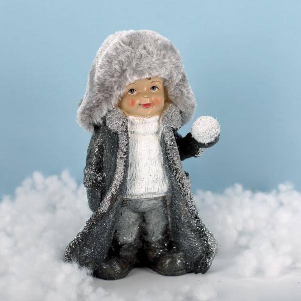 Winterkind mit Schneeball