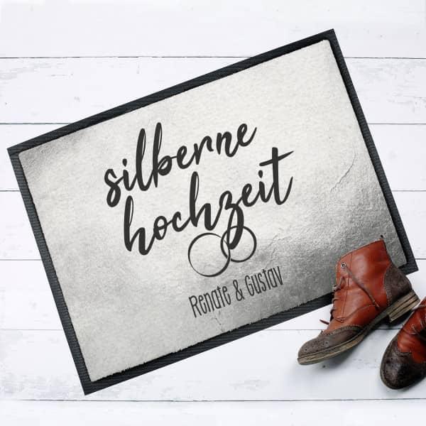 Bedruckte Fußmatte zur Silbernen Hochzeit