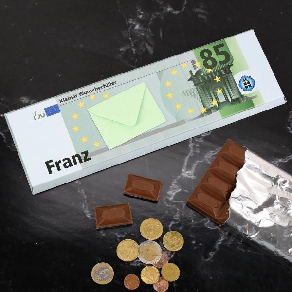 Schokolade mit Name, Alter und Geldumschlag