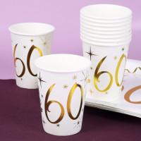10 weiße Pappbecher mit Gold-Metallic zum 60. Geburtstag