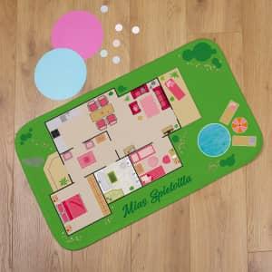 Spielteppich Puppenhaus mit Text personalisiert