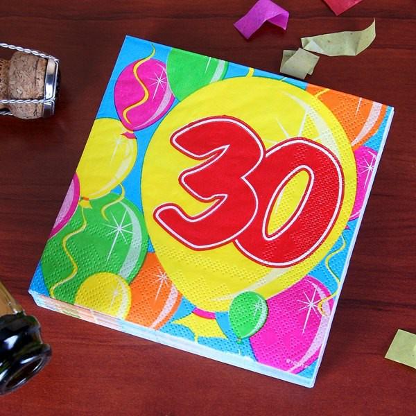 Geburtstagsservietten Ballon zum 30.