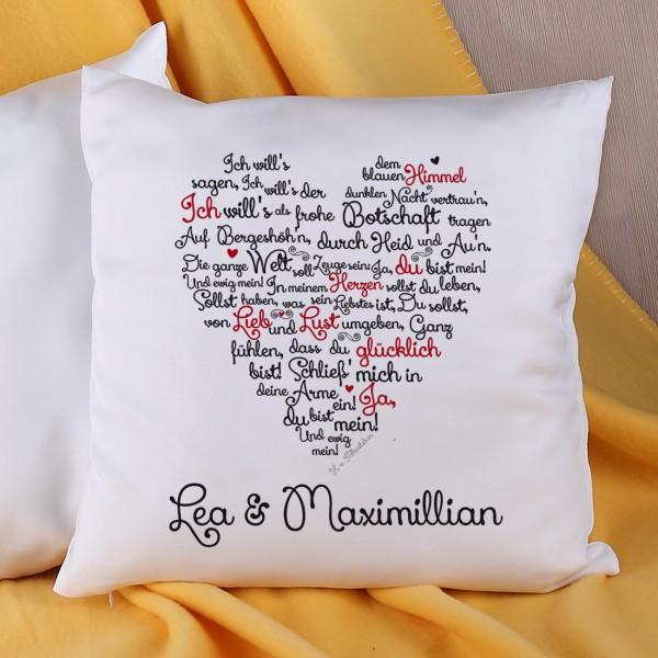 Kissen mit Liebesgedicht und Ihren Namen
