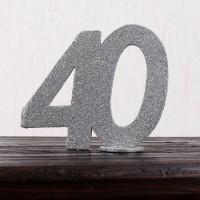 Silberne Dekozahl 40 zum Geburtstag für Tischdekoration