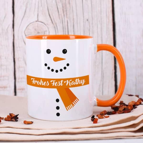 Schneemann Tasse mit Ihrem Wunschtext