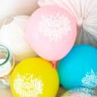 8 pastellfarbene Luftballons Happy Birthday