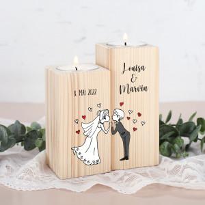 Teelichthalter zur Hochzeit personalisiert