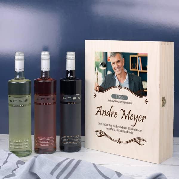 Weingeschenkset in edler Holzbox mit Ihrem Foto-Aufdruck