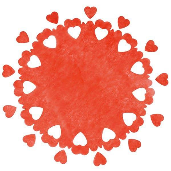 Tischdecken aus Vlies mit Konfetti - Herzen