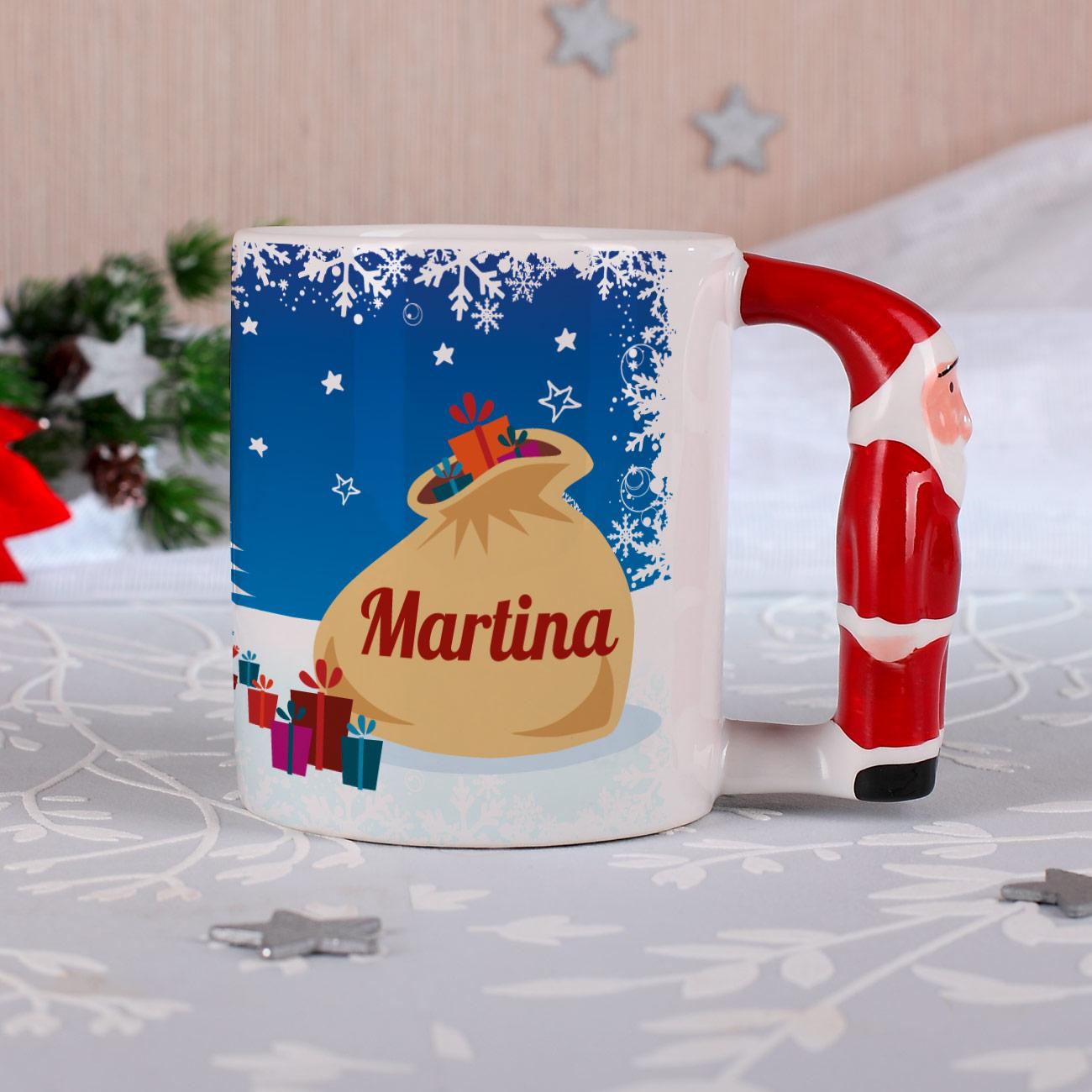 tasse mit weihnachtsmanngriff personalisiert zu. Black Bedroom Furniture Sets. Home Design Ideas