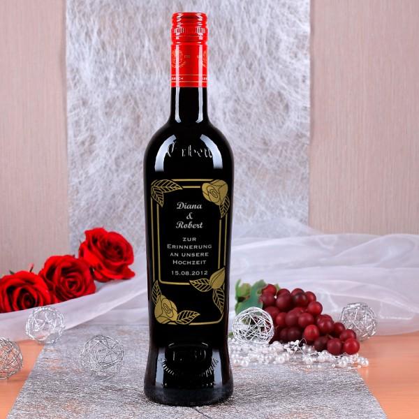 Persönliche Weinflasche mit Gravur, zweifarbig