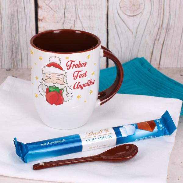 Weihnachtstasse mit Lindt Schokolade im Set