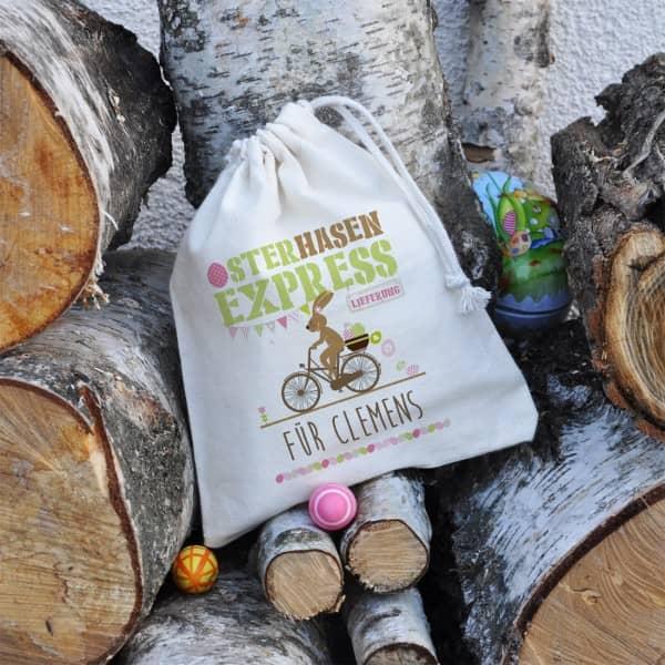 Kleiner Geschenksack vom Osterhasen Express mit Ihrem Wunschtext, 16 x 20 cm