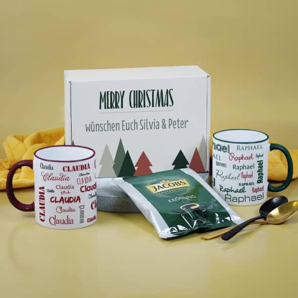 Geschenkset Kaffee mit Namenstassen