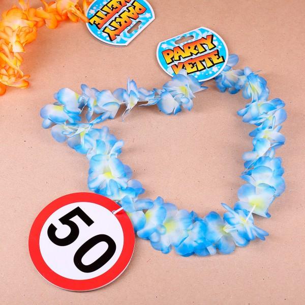 Partykette mit Blumen und Verkehrszeichen 50